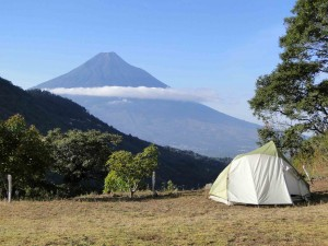 Camping with a view of Volcan Agua at Earth Lodge