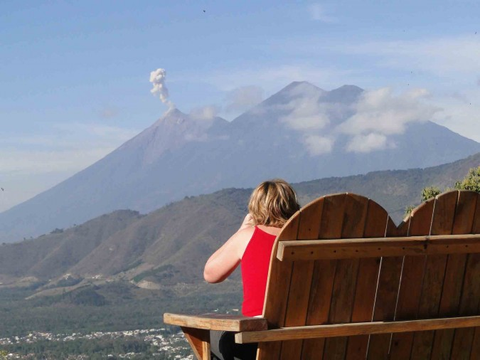 Roz watches Volcan Fuego plume during morning coffee.
